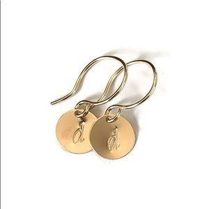 Moodtherapy Jewelry - 14K Gold Filled ANY Initial Engraved Earrings
